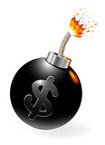 Ignited bomb with dollar-symbol Royalty Free Stock Photography