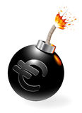 Ignited bomb with euro-symbol. Royalty Free Stock Photo
