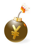 Ignited bomb with yen-symbol Royalty Free Stock Photos