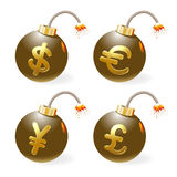 Ignited bombs with currency-symbols Stock Photos