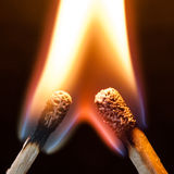 Ignited Match Heads Stock Photography