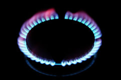 Igniting a gas stove Stock Image
