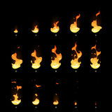 Ignition and fading fire trap animation sprite sheet cartoon vector set. Motion burning bonfire, illustration of move igniting fire Stock Photos