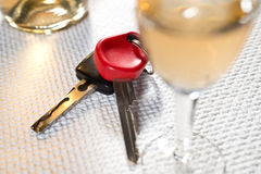 Ignition key and hard liquer Stock Photography