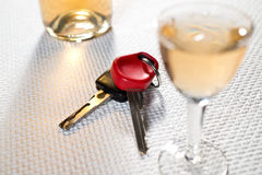 Ignition key and hard liquer Stock Photo