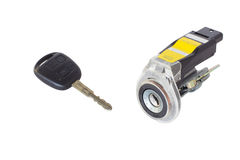 Ignition key and lock. On white background Stock Images