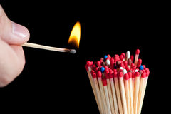 Ignition of matches Royalty Free Stock Photo