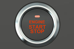 Ignition start button closeup, 3D rendering. Isolated on white background Royalty Free Stock Image