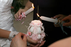 Ignition wedding candles at the event Stock Image
