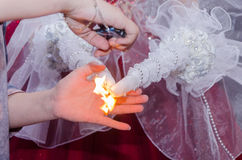 Ignition white traditional wedding bride candles on the eastern wedding. Rahat, Negev, Israel - August 26, Hall -Ulam Lotus Hina  , 2015 in Israel Stock Images