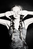 Ignorance Concept. Woman with Closed Eyes. Black and white Photo Stock Photos