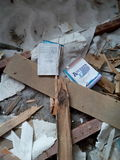 Ignorance. One of many examples of teenage vandalism. The only torn book lay in an abandoned ruined house. It`s sad Stock Photos
