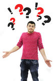 Ignorant. Young man confused isolated on white Stock Photo