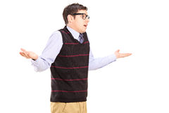 Ignorant man gesturing with hands. Isolated on white background Stock Photography