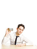 Ignore. Conceptual photo of man with tin phone ignoring his conversation Stock Photos