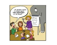Ignorera elefanten i rummet royaltyfri illustrationer