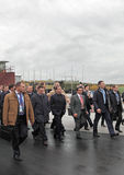 Igor Kholmanskikh, Dmitry Medvedev en Oleg Sienko Stock Foto