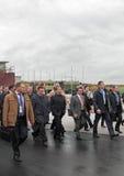 Igor Kholmanskikh, Dmitry Medvedev and Oleg Sienko. NIZHNY TAGIL, RUSSIA - SEP 26:  Igor Kholmanskikh, Dmitry Medvedev and Oleg Sienko at the exhibition RUSSIA Stock Photo