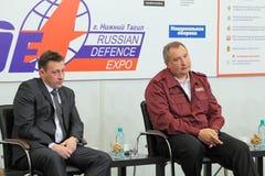 Igor Kholmanskikh and Dmitry Rogozin. NIZHNY TAGIL, RUSSIA - AUG 24: Igor Kholmanskikh - Presidential Plenipotentiary Envoy to the Urals Federal District and Royalty Free Stock Photos