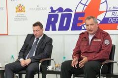 Igor Kholmanskikh and Dmitry Rogozin. NIZHNY TAGIL, RUSSIA - AUG 24: Igor Kholmanskikh - Presidential Plenipotentiary Envoy to the Urals Federal District and Royalty Free Stock Photography