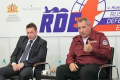 Igor Kholmanskikh and Dmitry Rogozin. NIZHNY TAGIL, RUSSIA - AUG 24: Igor Kholmanskikh - Presidential Plenipotentiary Envoy to the Urals Federal District and Stock Photography