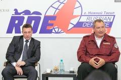 Igor Kholmanskikh and Dmitry Rogozin. NIZHNY TAGIL, RUSSIA - AUG 24: Igor Kholmanskikh - Presidential Plenipotentiary Envoy to the Urals Federal District and Stock Photos