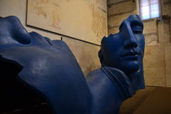 Igor Mitoraj, 2 blue faces sculpture Royalty Free Stock Images