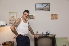 Igor Recek Croatian rockabilly fan Royaltyfria Bilder