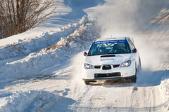 Igor Sedov drives a white Subaru Impreza car Stock Photo