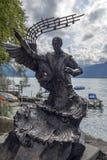 Igor Stravinski statua na brzeg Jeziorny Genewa przy Montreux, Szwajcaria Zdjęcia Stock