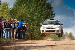 Igor Zverev drives a  white Subaru impresa Stock Images