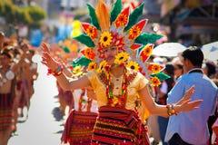 Igorot Girl Dances Gracefully at Flower Festival Stock Images