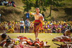 Igorot Girl Dancing on Flower Festival Royalty Free Stock Photos