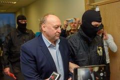 Igors腐败预防局扣留的Volkinsteins KNAB 库存照片