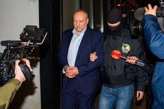 Igors腐败预防局扣留的Volkinsteins KNAB 免版税图库摄影