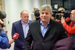 Igors Volkinsteins a détenu par le bureau KNAB de prévention de corruption photographie stock