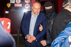 Igors Volkinsteins ha detenuto dall'ufficio KNAB di prevenzione della corruzione fotografia stock libera da diritti