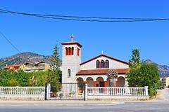 Igoumenitsa city church Greece. Orthodox Church at a street in Igoumenitsa- coastal city and largest port in northwestern Greece Royalty Free Stock Photo