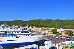 Igoumentsa ferry port Greece. Igoumenitsa is a coastal city in northwestern Greece. It is the one of the largest passenger ports of Greece, connecting Stock Photos