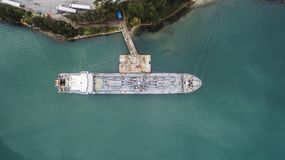 Aerial drone image of Igoumenitsa port in Greece and vessels loading/unloading. royalty free stock photography