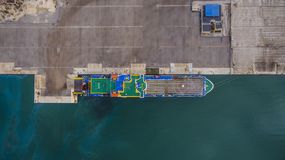 Aerial drone image of Igoumenitsa port in Greece and vessels loading/unloading. royalty free stock image