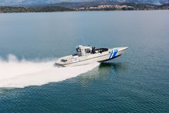 IGOUMENITSA, GREECE - MARCH 3, 2017: A Greek coast guard ship on patrol near Igoumenitsa port.  Stock Image