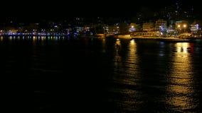 Igoumenitsa sea port at night, Greece. View from a ferryboat traveling to Corfu Island.  stock video