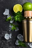 Igredients for refreshing Mojito cocktail. Alcohol background bar barman bartender beverage black caipirinha citrus cold cool copyspace cuban drink equipment royalty free stock photography