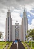 A igreja Akureyrarkirkja é igreja luterana famosa em Akureyri, não Imagem de Stock Royalty Free
