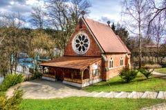 Igreja anglicana da igreja de Cristo - Marianske Lazne - República Checa fotos de stock