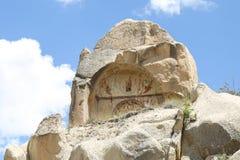 Igreja antiga arruinada da caverna em Cappadocia, Turquia Fotografia de Stock
