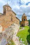 Igreja antiga na montagem Kazbek em Geórgia Imagem de Stock