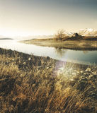 Igreja bonita Serene New Zealand Concept panorâmico foto de stock royalty free