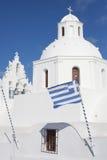 Igreja branca Santorini Imagens de Stock